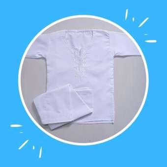 White Embroidered Kurta / Qameez Shalwar without Collar for 6 Months to 3 Year Old Boys and Girls