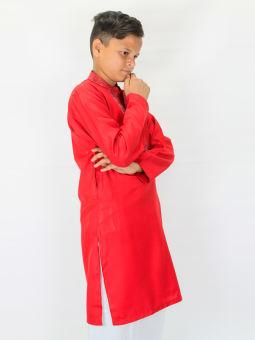 Cut Price Self Lining Embroidery Kurta for Boys 6-15 YR Red