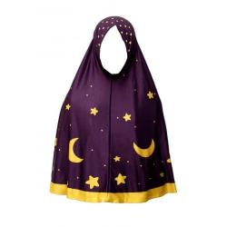 Pretty Muslim Girls Scarves - Maroon Color with Moon Stars